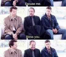 Inspiring image angel, bless you, castiel, crowley, dean winchester, demon, devil, sam winchester, supernatural, season 8, reel gag #3323867 by Lauralai - Resolution 500x832px - Find the image to your taste