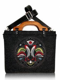 cab901268764f Ciemno szara folk torba filcowa na laptopa - GOSHICO - łowicka na ludowo -  Folkstar.pl
