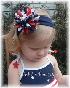Boutique July 4th Red White Blue Flag USA by RebekahsBowtique