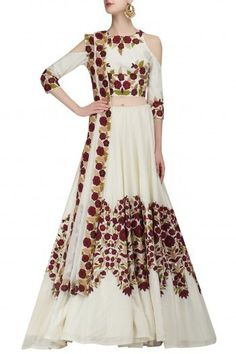 Manish Malhotra presents Ivory resham embroidered cold shoulder lehenga set available only at Pernia's Pop Up Shop. Wedding Outfits For Groom, Bridal Outfits, Bridal Dresses, Mode Bollywood, Bollywood Fashion, Latest Designer Sarees, Designer Dresses, Indian Dresses, Indian Outfits
