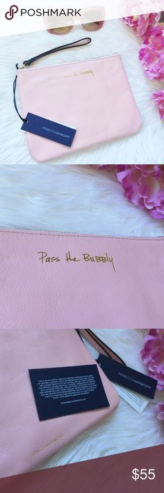 """🆕 Rebecca Minkoff 'Pass The Bubbly' Kerry Pouch Super cute carry-all clutch with gold """"Pass the Bubbly"""" lettering. Authentic & in perfect condition. Brand new with tags! Rebecca Minkoff Bags Clutches & Wristlets"""