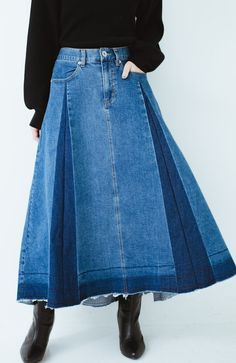 haco! 【再再再入荷!】デニムパネルプリーツスカート<ブルー> | ファッション通販のhaco! Denim Fashion, Fashion Outfits, Womens Fashion, Diy Fashion Hacks, Denim Art, Denim Crafts, Denim Outfit, Skirt Pants, Refashion