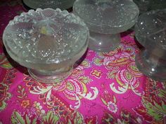 ANTIQUE RARE FIND SET 6 HUGE CLEAR SANDWICH GLASS PULLS~KNOBS~2.25 INCH~FLOWERS  picclick.com