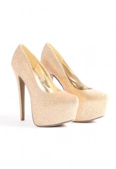 Gretta Super High Glitter Platform Shoes  Gold
