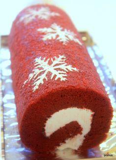 Red Velvet cake roll for Christmas