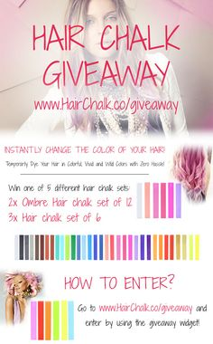 Hair Chalk Giveaway - Enter to Win one of 2x Ombre Hair Chalk sets or one of 3x Hair Chalk set of 6 #giveaway #sweepstake #hairchalk