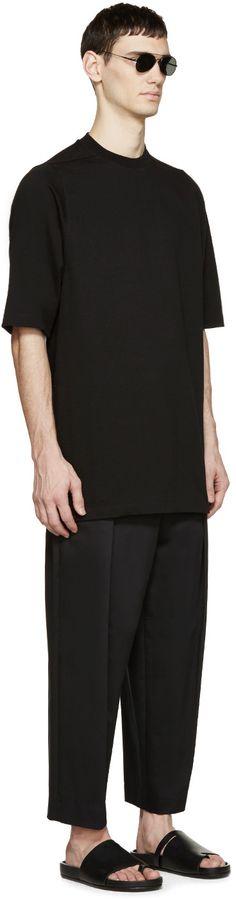 Juun.J - Black Pleated Cropped Trousers