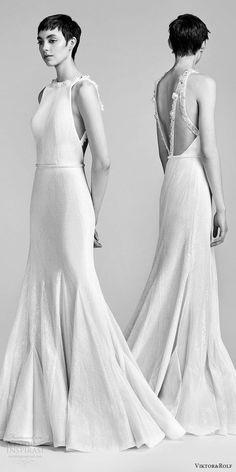 viktor and rolf spring 2018 bridal sleeveless jewel neck beaded neckline fit flare wedding dress (21) mv bv godet skirt open back modern -- Viktor