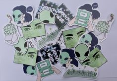 aesthetic green sticker pack by Ceruleanxxart on Etsy https://www.etsy.com/listing/496821526/aesthetic-green-sticker-pack