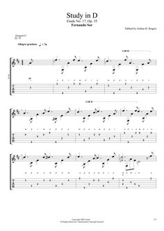 Study in D (Etude No. 17, Op. 35 - Fernando Sor (Sheet Music & Tabs)