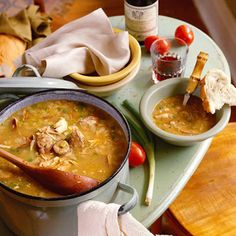 Chicken-Andouille Gumbo    A symbol of Creole cooking, gumbo is a staple in homes and restaurants across Louisiana. Andouille sausage and filé powder make this recipe a classic and, as in any good gumbo, a deep, rich roux thickens the stew.