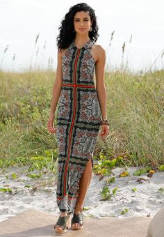 Havana Bound - Cultivate your wardrobe with our bold maxi dress, featuring a soft knit fabrication, back keyhole and signature Cato medallion scroll tile print. Cork crossband wedges with wood and neutral toned jewelry deliver an adventurous finish to this look.