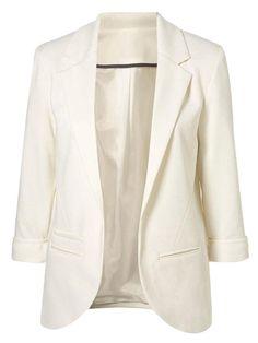 White Slim Single-breasted Lapel Blazer - MYNYstyle - 1