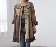 Oh! I love this! I love the neckline! The collar! *swoon*    Cotton patchwork Single breasted doll long shirt dress