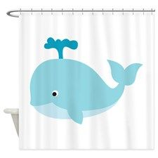 Blue Cartoon Whale Shower Curtain