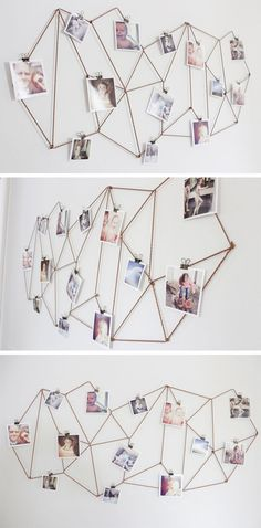 Kids Room: DIY Dorm Room Decor Ideas - Geometric Photo Display - Cheap DIY Dorm Decor Projects for College Rooms - Cool Crafts, Wall Art, Easy Organization for Girls - Fun DYI Tutorials for Teens & College Students Cheap Diy Dorm Decor, Easy Home Decor, Easy Diy Room Decor, Cheap Wall Decor, Mur Diy, Exposition Photo, Photo Deco, Diy Wand, Traditional Bedroom Decor