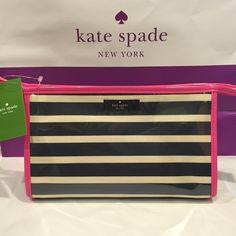Kate Spade Medium Heddy cosmetic bag MSRP $65 Kate Spade cosmetic bag. Zip top closure with pink fabric lined interior. kate spade Bags Cosmetic Bags & Cases