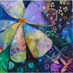 """Abstract Art Painting on Canvas Colorful Modern Art """"Moon Flower"""""""