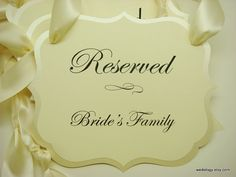 Wedding Signs Reserved Seating Pew Or Chair To Use During Your Ceremony Prepared In