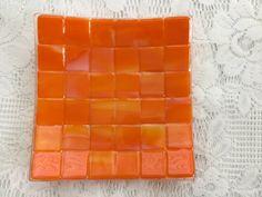 Fused Glass Plate Orange Marigold Art Glass by AngelasArtGlass