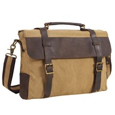 Vintage Messenger Bag for Men, Berchirly Canvas Leather Trim Briefcase Shoulder Bag -- Be sure to check out this awesome product.