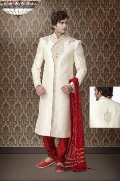 Off White Brocade Sherwani Online Shopping: MCD1207