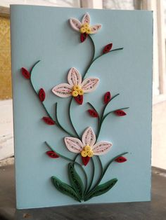 Quilling flowers on card card flowers quilling Paper Quilling Cards, Paper Quilling Flowers, Paper Quilling Patterns, Quilled Paper Art, Quilling Craft, Quilling Cards Design, Hobbies And Crafts, Diy And Crafts, Paper Crafts