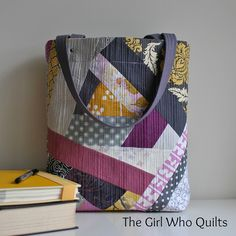 "Modern Quilted Tote | Flickr - Photo Sharing! I love the ""controlled"" crazy quilt feel of this bag and the unusual color combo."