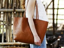 Handmade Leather Big Large Tote Bag for Woman