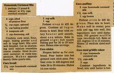 Homemade Cornmeal Mix. :: Historic Recipe