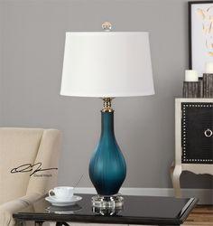 Uttermost Shavano Blue Glass Table Lamp
