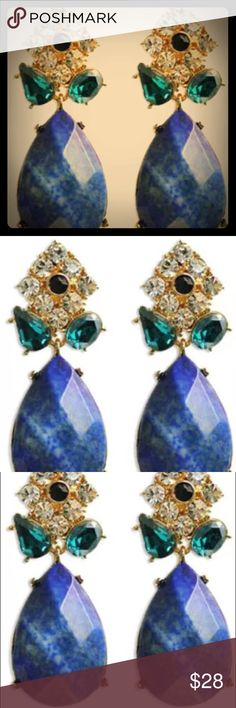 💙BETSEY JOHNSON SAPPHIRE COLOR TEAR•DROP EARRINGS 💙💚💙BETSEY JOHNSON SAPPHIRE COLOR, FACETED TEAR•DROP EARRINGS with GREEN•BLACK & WHITE CRYSTALS ON THE TOP • FOR PIERCED EARS • STUDS💙💚💙 Betsey Johnson Jewelry Earrings