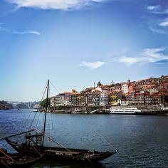 Looking out at Porto from across the Douro River in Vila Nova de Gaia