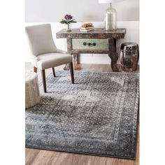 Bungalow Rose Culemborg Vintage Blue Area Rug Rug Size: Oval x Contemporary Area Rugs, Indoor Rugs, Blue Abstract, Grey Rugs, The Fresh, Blue Area Rugs, Blue Rugs, All Modern, Decoration