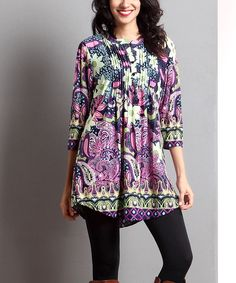 Loving this Purple Paisley Notch Neck Tunic on #zulily! #zulilyfinds
