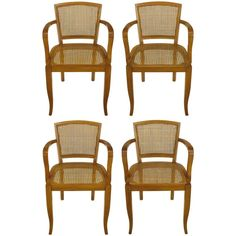 Expertly designed and constructed cherrywood armchairs with tight Danish weave cane seats and backs. Saber front legs and slightly raked back legs. Sturdy and strong chairs with multiple applications. Baker Furniture, Furniture Companies, Dining Room Chairs, Armchairs, Wicker, Danish, Weave, Classic, Strong