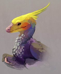 "kaenith It's fun to say ""I have a pet dinosaur.""  Technically it's not a lie, what with birds being avian dinosaurs and all, but I thought it'd be fun to draw a ""proper"" dinosaur with cockatiel coloration :3"