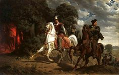 The Escape of Henry of Valois from Poland.1860. Artur Grottger (1837-1867) oil on canvas.100.3×158.7 cm.National Museum in Warsaw (MNW)