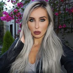 Gorgeous Makeup: Tips and Tricks With Eye Makeup and Eyeshadow – Makeup Design Ideas Glam Makeup, Eyeshadow Makeup, Makeup Tips, Beauty Makeup, Silver Platinum Hair, Silver Hair, Gorgeous Makeup, Gorgeous Hair, Beautiful