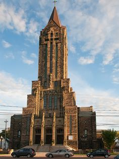 View of de Notre-Dame of the Assumption cathedral, built between 1939 n 1940, located at 226 St George street in Moncton, New Brunswick, Atlantic_ Canada