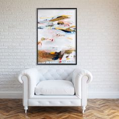 Large Wall Art Abstract Painting on Paper Fresh Modern Art White and Gold by Duealberi
