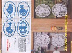 Jajka szydełkowe Baranek ... Yarn Crafts, Decor Crafts, Diy And Crafts, Easter Crochet Patterns, Crochet Doilies, Filet Crochet Charts, Knitting Charts, Cross Stitch Samplers, Cross Stitch Patterns