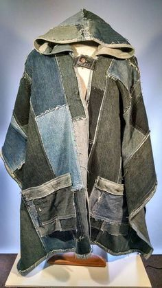 Hooded Recycled Denim Poncho made from Post Consumer Jeans