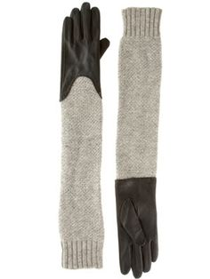 ASOS Leather and Knit Long Gloves