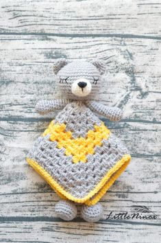 SALE Crochet yellow and grey baby security blanket Cute