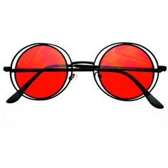 Retro Metal Circle Round Sunglasses Black Red R1344 (€9,38) ❤ liked on Polyvore featuring accessories, eyewear, sunglasses, glasses, accessories - glasses, retro style sunglasses, red round sunglasses, red sunglasses, circular sunglasses and retro sunglasses