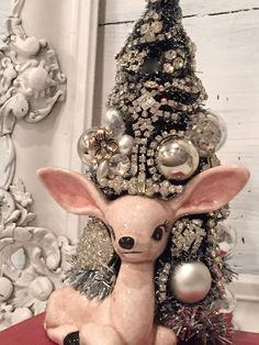 Vintage Reindeer Deer  Figurine, Rhinestone Christmas Tree, Bottle Brush Tree,