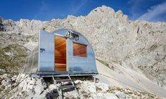 Mountaineers traversing the unforgiving but spectacular landscapes of Slovenia's Triglav National Park have a cozy new respite from the harsh environment to look forward to. A design team led by architect Darko Bernik replaced a decrepit 1936 bivouac shelter with a new bell-shaped replica that withstands winds of 200 kilometers per hour. The vastly improved alpine shelter, named Bivak II na Jezerih, was created from over 600 hours of voluntary work by mountaineers and climbers.
