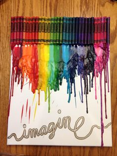 DIY canvas crayon art Add a book or child reading a book silhouette for a great teacher gift