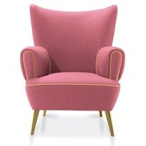 Athena Cotton Velvet Upholstered Pinewood & Gold Leaf Armchair